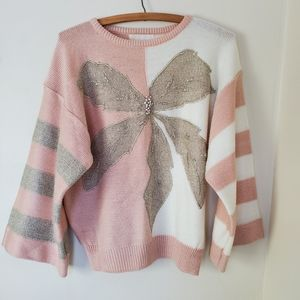 Vtg 80s 90s embellished knit sweater